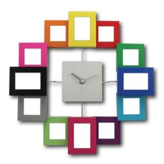 Nástenné hodiny s fotorámčekmi - farebné