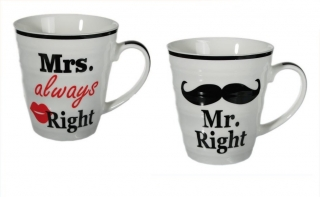 Hrnčeky Mr right a Mrs always right 2ks 250 ml